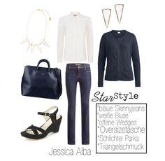 Fair Fashion Star Style Jessica Alba - Casual Business Outfit Jeans, Jacke und Wedges @hessnatur #hessnatur / Bluse, Kette und Ohrringe @peopletree / Tasche matt&nat
