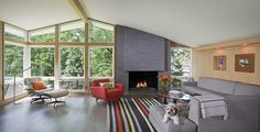 Living room of remodeled split level rambler with dog on couch
