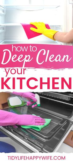 Is your kitchen due for a good cleaning? Get our Kitchen Deep Clean Checklist that breaks it into smaller tasks you can fit into the margins of your day. Deep Cleaning Checklist, Deep Cleaning Tips, House Cleaning Tips, Diy Cleaning Products, Cleaning Hacks, Cleaning Schedules, Organizing Tips, Organization, Clean Kitchen Cabinets