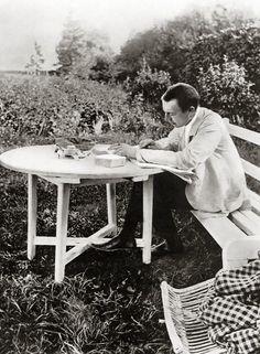 Sergei Rachmaninoff at his estate Ivanovka, proofing his Piano Concerto No. 3 (1910)