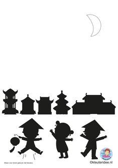 Chinees vuurwerk maken met kleuters, kleuteridee.nl, Chinese firework for kindergarten free printable A3. Chineese New Year, China Art, Nouvel An, Ancient China, Japan, Google, Free, Blue Prints, Bricolage
