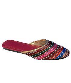 Footwear Multicolour Flat Daily Wear Ethnic Jutti