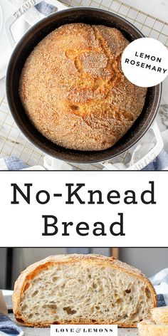 This no-knead bread recipe will make any novice baker look like a pro! It calls for 6 simple ingredients and requires just 5 minutes of work, but it comes out with a perfect golden brown crust and soft interior every time. Knead Bread Recipe, No Knead Bread, Bread Recipes, Vegetarian Recipes, Healthy Recipes, Vegetarian Protein, Baking Recipes, Appetizer Recipes, Dessert Recipes