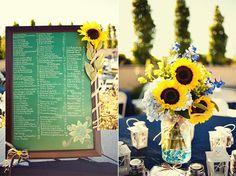 backyard summer wedding, yellow sunflowers