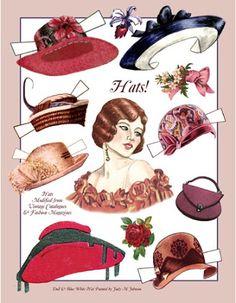 Miss Missy Paper Dolls: Vintage Hats Paper Doll