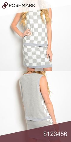 """Closet Clearout 🎉 Gray/White Checkered set Gray White Top and Skirt Set.  Patchwork checkered design on front, solid on back.  Skirt has zipper in back.  100% cotton. Size S-M-L.  Sizes are as followed top (underarm to underarm, top of shoulder to bottom of hem) skirt (waist- left to right, top to bottom): small- top- 18.5"""", 22"""" skirt- 12"""", 17"""". Medium- top- 19.5"""", 23"""" skirt- 13"""", 17"""".  Large- top- 20.5"""", 23"""", skirt- 14"""", 17.5"""". Dresses"""