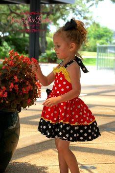 Minnie Mouse Dress Minnie Dress Baby Girls Dress Little Baby Girl Birthday Dress, Baby Girl Party Dresses, Birthday Dresses, Little Girl Dresses, Baby Dress, Girls Dresses, Dot Dress, 2nd Birthday, Birthday Ideas