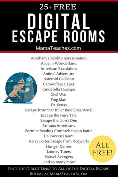 } - Mama Teaches Give your students a taste of adventure with over 20 free digital escape rooms to try at home or at school. Doing distance learning? These are perfect! Home Learning, Learning Activities, Kids Learning, Activities For Kids, Stem Activities, Spy Games For Kids, Summer School Activities, Youth Group Activities, Physical Activities