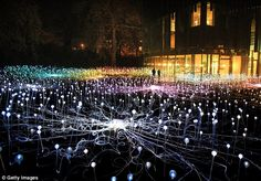 "Field of Light, an installation by British light artist Bruce Munro, opened this weekend at The Holbourne Museum. Field of Light consists of a stunning lightbulbs ""planted"" around the museum grounds creating something akin to Avatar's glowing Pandora Garden Of Lights, Garden Bulbs, Light Art Installation, Artistic Installation, Art Installations, Lights Artist, My Sun And Stars, Bulb Flowers, Beautiful Lights"