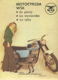 WSk polish motor European Motorcycles, Cars And Motorcycles, Motorcycle Posters, Good Old Times, Love Posters, Classic Bikes, Motorbikes, Poland, Old Things