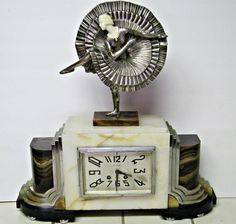 DECO MARBLE CHROME 1920'S FLAPPER CAN-CAN DANCER FRENCH CLOCK ARMAND LEMO KEY