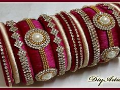 How to make Silk Thread Designer Bangle Bangle Bracelet Diy Jewellery Making Diyartiepie presents this beautiful Pearl Bangle Jewellery Set for women. Silk Thread Bangles Design, Silk Thread Earrings, Thread Jewellery, Diy Jewellery, Kundan Bangles, Silk Bangles, Bangles Making, Diy Jewelry Making, Bridal Jewelry