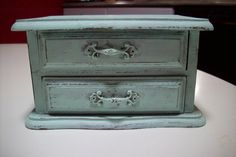 Shabby Mint Wooden Jewelry Box/ Vintage hand painted Jay Imports Co. Rustic Wood Jewelry organization distressed in Mint Green/ gift for her