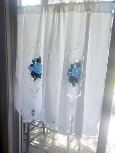 Two Open Cutwork Appliqued Curtain Panels, Satin Curtains, by mailordervintage on etsy Satin Curtains, White Lace Curtains, Vintage Curtains, Curtain Panels, Panel Curtains, Oval Picture Frames, Mosaic Pictures, Wall Ornaments, Vintage Nursery