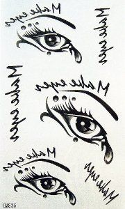 Kinghorse Hotselling Temporary Tattoo for Female Women and Sweetheart Waterproof Body Tattoo (Various Beautiful Sexy Eyes and Tear Drops) by KingHorse. $1.27. easily water transfer on and remove by baby oil.. Fashionable, eye catching designs.. F.D.A, EN71, ASTM or CE approval. Non-toxic.. Ships from and sold by MicroDeal, MicroDeal® Trademark cleaning cloth around 4.7 Inch, one piece per order.. long lasting for 5~7 days.. F.D.A, EN71, ASTM or CE approval. No...