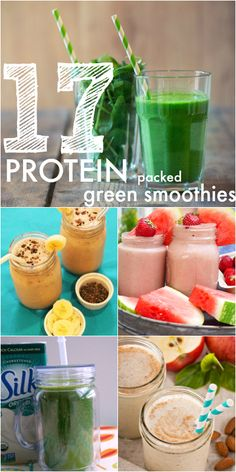 Healthy Smoothies Recipe 17 High Protein Smoothies - Filled with veggies and totally delicious High Protein Smoothies, Veggie Smoothies, Protein Pack, Green Smoothies, Protein Shakes, Pineapple Smoothies, Diabetic Smoothies, Protein Fruit, Easy Smoothies