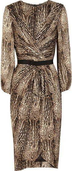 Animalprint Silkcharmeuse Dress