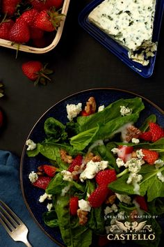 A simple dinner for one can still pack a flavor punch thanks to fresh spinach and strawberries topped with Castello Traditional Danish Blue cheese.