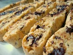 Almond Joy Biscotti - What's Cookin, Chicago Fancy Desserts, Italian Desserts, Just Desserts, Biscotti Cookies, Biscotti Recipe, Bar Cookies, Baking Recipes, Cookie Recipes, Dessert Recipes