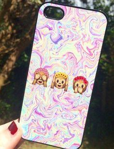 Iphone 5 5S Phone Case Emoji Monkey Print Hipster Phone Cover