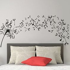 Wall Decal Decor Bedroom Wall Decal  Dandelion Vinyl Wall Art Sticker Music Note Wall Dcor Flower Vinyl Decal Home DcorBlack 35h x76w *** Want additional info? Click on the image.