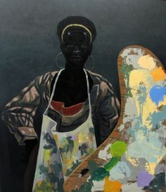 """Kerry James Marshall, """"Untitled (painter)"""", 2008, takes his title from the 2002 exhibition at Studio Museum in Harlem, curated by Thelma Golden. Using Golden's """"Black Romantic"""" as a point of departure, he explores the black figure represented in pictorial space. Marshall """"investigates the critical pretensions of the fine art establishment in which he participates."""""""
