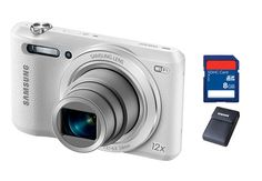 White WB-35F Smart Camera by Samsung. Share your best photos instantly with Family and Friends with Built-in Wi-Fi with NFC smart features, you can instantly upload your photo to social media, e-mail, and also free soft case and memory card. http://www.zocko.com/z/JI70g