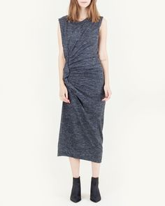 """Mathis+Dress+in+Anthracite+by+Isabel+Marant+Étoile.+Grey+marled+stretch+jersey+dress+features+a+round+neck+and+ruffled+side+ruching+with+asymmetrical+hem.  -+50%+polyamide,+30%+linen,+20%+virgin+wool  -+16""""+chest,+51.5""""+length  -+Our+model+is+approx.+5'8""""+and+wearing+a+size+36 $425.00"""