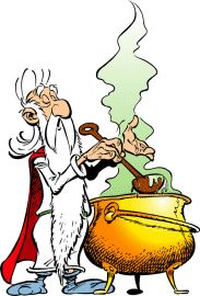 Getafix  Druid, inventor of all types of potions and fountain of Gaulish wisdom.  Citizenship : Gaul  French name : Panoramix  German name : Miraculix  Dutch name : Panoramix  Spanish name : Panoramix  Italian name : Panoramix  Portugese name : Panoramix