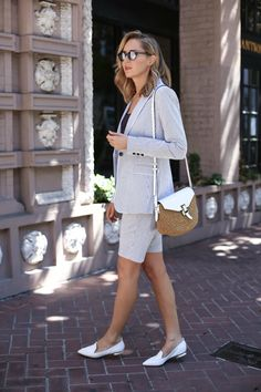 If you work in a creative or a casual office, this kind of shorts suit might just be your new BFF.  Especially with bermuda-length shorts, the look still has strong professional vibes, while being warm-weather friendly and incredibly versatile.  To mix things up and get mileage out of the pieces separately, throw the jacket on over a navy sheath dress for a more conservative workwear alternative, or pair it with white jeans for casual Friday.  Similarly, the the shorts can fly solo just as…