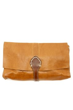 Distressed looking soft leather clutch. Perfect for carrying day-to-day essentials! Inside features a gold floral print. Dust-sleeve included with bag.