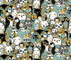 """A limited palette gathering of all the shapes and sizes owldom has to offer. This was originally drawn as a coordinate to my """"Owl Be Darned"""" apron, which I've been meaning to do forever. Thanks SF for a contest that allowed me to hit two birds with one stone!"""