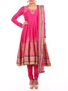 Shop Fuschia Chanderi Flared Suit Set online at Biba.in - SKD4066FUS