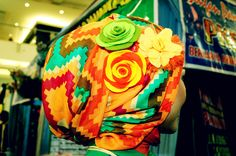 hijab renbow + bunga :D nice