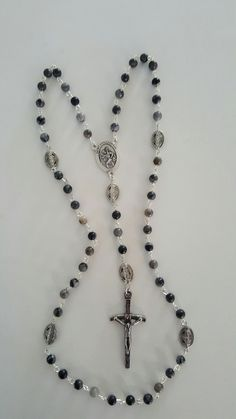 Stunning Men's Jasper and Metal Rosary with St. Christopher Medal! by AutumnsBlessing on Etsy