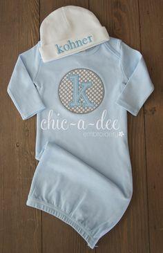 Initial Patch Newborn Layette (Blue) & Hat