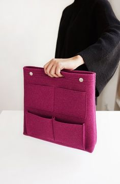 The Long Felt Purse Organizer is one of many adorable and functional products in the MochiThings collection. Felt Purse, Purse Organization, Tidy Up, Large Tote, Book Worms, Sewing Projects, Pocket, Purses, My Style
