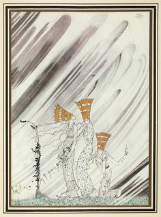 'Just as they bent down to take the rose a big dense snow-drift came and carried them away'. Illustration by Kay Nielsen in East of the sun and west of the moon (1914), (198 x 150 mm), Alexander Turnbull Library, qRPr HODD NIEL 1914. National Library of New Zealand via Flickr.