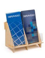 Double Pocket Brochure Holder for Tabletop, Fits 4 x 9 Pamphlets - Plywood