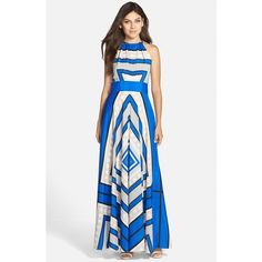 Women's Eliza J Scarf Print Woven Maxi Dress (215 AUD) ❤ liked on Polyvore featuring dresses, cobalt, petite, petite maxi dress, eliza j dresses, reversible dress, reversible maxi dress and bow dress