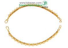 22K Gold Ear Chain (Matilu) - 1 Pair With Cz - GEM189 - Indian Jewelry from Totaram Jewelers