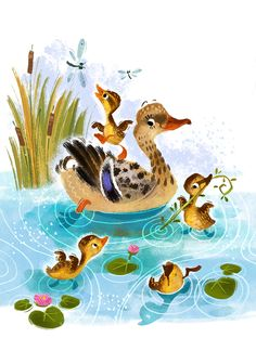 Farm fun on Behance Cute Animal Illustration, Watercolor Illustration, Farm Animals Preschool, Farm Fun, Artists For Kids, Bird Art, Cute Art, Illustrations Posters, Art Drawings