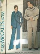An original ca. 1975 McCall's Pattern 4793.  Men's Unlined Jacket and Pants. Yoked, buttoned jacket has collar and buttoned patch pockets. Pants have fly front zipper and pockets cut of lining fabric. Buttoned pocket flaps are included in waistband seam.