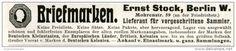 Original-Werbung/ Anzeige 1911 - BRIEFMARKEN / STOCK - BERLIN - MOHRENSTRASSE 59 - ca. 115 x 20 mm