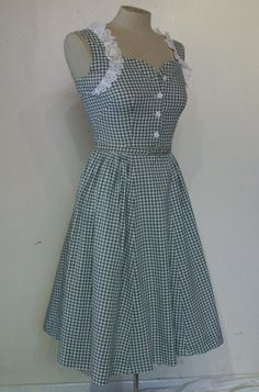 Absolutely irresistible late 1940s gingham pinup by ukcharmvintage