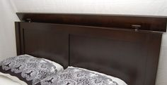 Headboard opening from top. I'd make the headboard a little deeper to actually store pillows and blankets though.