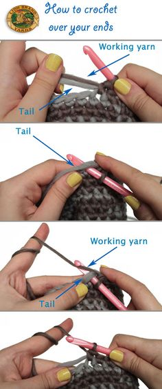 "Eliminate the yarn ""tail"" when crocheting by simply including it in the first few stitches!"
