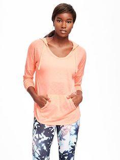 $22.94 Old Navy Go-Dry Slub-Knit Hoodie for Women size medium color melon