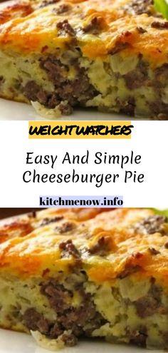 Easy And Simple Cheeseburger Pie // Baked Pasta Recipes, Pie Recipes, Casserole Recipes, Cookie Recipes, Easy Recipes, Cheeseburger Pie, 7 Day Meal Plan, Cheese Burger, Hamburger Recipes