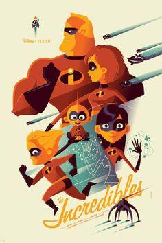 Tom Whalen – The Incredibles Disney Pixar Mondo Poster Print Disney Pixar, Disney E Dreamworks, Art Disney, Disney Artwork, Disney Kunst, Disney Love, Disney Magic, Disney Films, Disney Villains